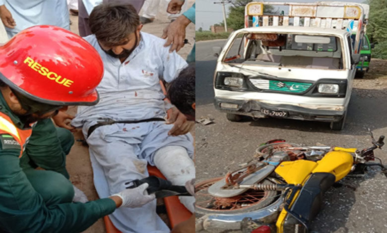 Photo of پنڈدادنخان جہلم روڈ پر سوزوکی پک اپ اور موٹر سائیکل کے درمیان ٹکر، 2 افراد زخمی